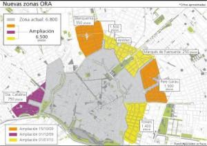ampliacions de la zona ORA