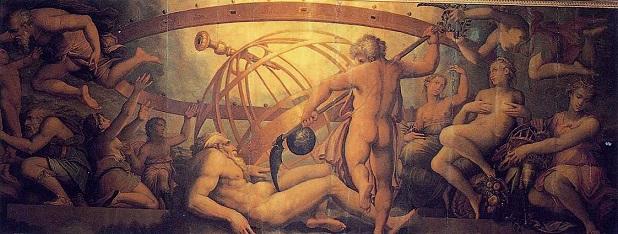 La mutilació d'Urà, a mans del seu fill Saturn (fresc de  Giorgio Vasari i Cristofano Gherardi al Palazzo Vecchio, Florència).